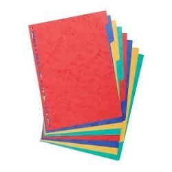 Jeux d'intercalaires couleurs ATLAS en carton de 1 à 12 format A4|INTE010|ybureau